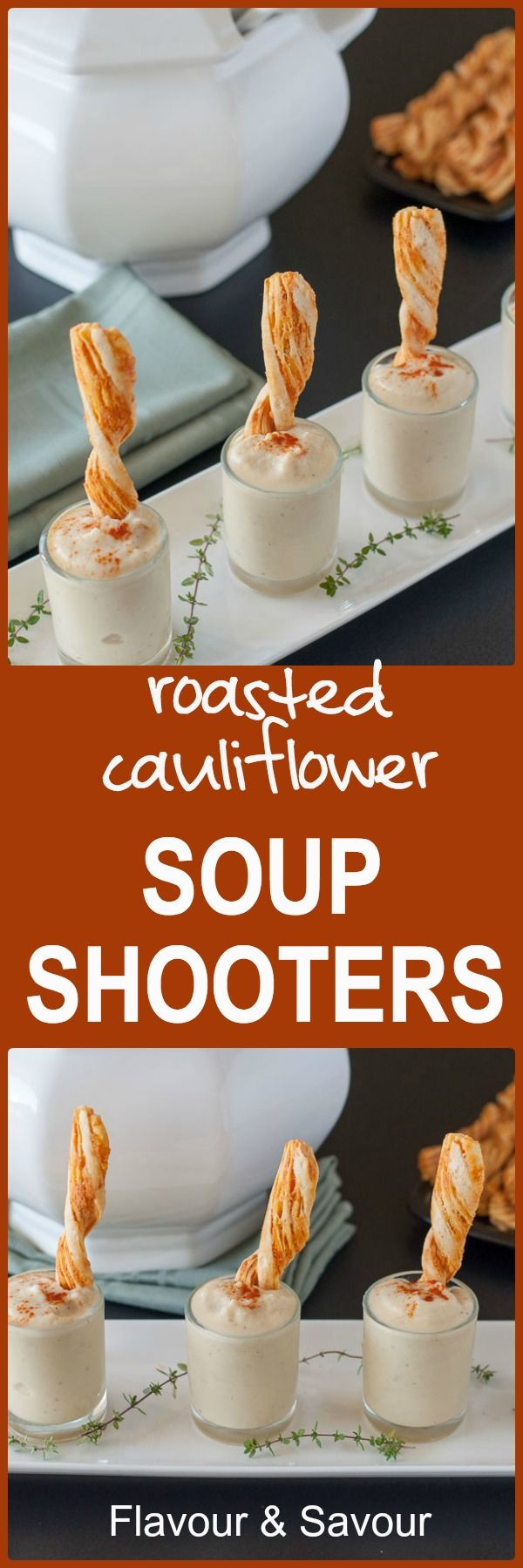 Tiny Roasted Cauliflower Soup Shooters are an ideal starter for a dinner party. Kids love them too! It's time to have fun with your food!