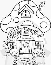 Mushroom House See More Image Result For Landscape Coloring Pages Adults