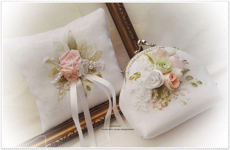 Menyasszonyi táska és gyűrűpárna, pasztell rózsás