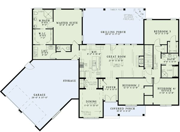 Plan 60615nd split floor plans with angled garage house for House plans with laundry room attached to master bedroom