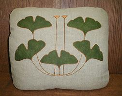 20x20 pillow, Embroidery kit, silk on raw linen from the Arts & Crafts Period Textiles website, Dianne Ayres