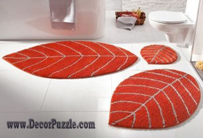 modern bathroom rug sets and bath mats 2015, orange bathroom rugs and carpets