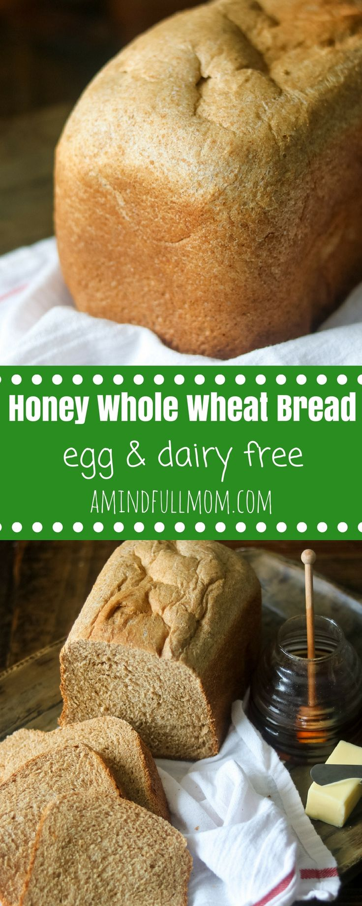 Homemade Honey Whole Wheat Bread: After one bite of this tender whole wheat bread recipe, you will never go back to store-bought bread again! This is an EASY recipe for 100% whole wheat bread your family will fall in love with. Directions for making whole wheat bread in bread machine and in oven. #bread #wholewheat #eggfree #dairyfree via @amindfullmom