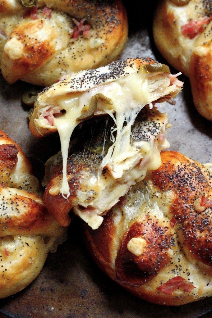 Ham, Swiss, and Jalapeño Stuffed Pretzels