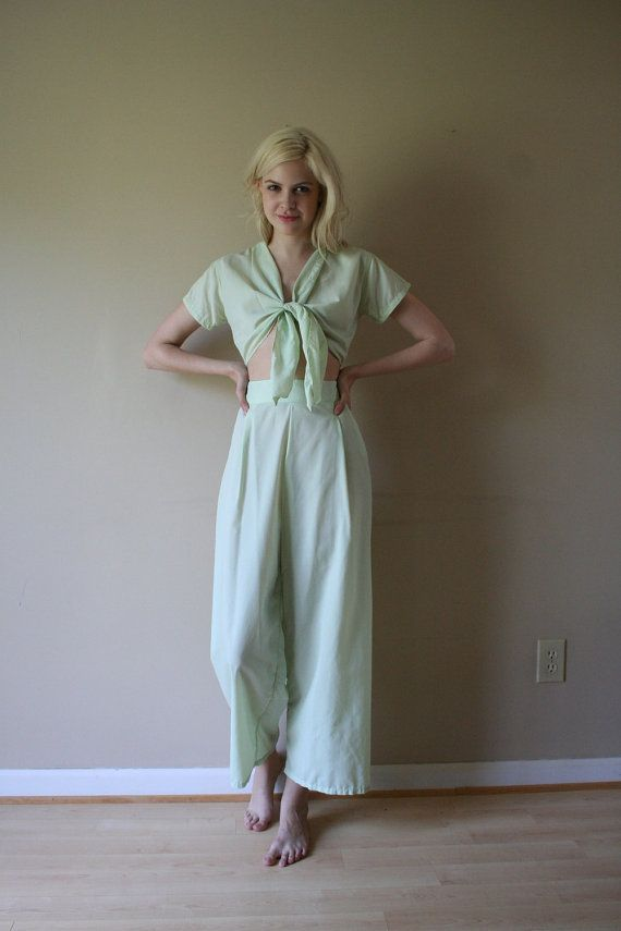 SALE 40s Pajamas Mint Green Loungewear Crop Tie Top and Palazzo Pants PJs Set Size Small sm (0-2-4)