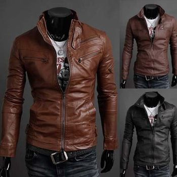 Fashion Style Stand Collar Multi Zipper Embellished Pu Leather Jacket For Men Can Be Bought From Rose Wholesale Online Store With Promo Codes And Coupons