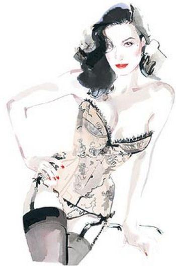 Illustration by David Downton, Dita Von Teese. (please follow minkshmink on pinterest)