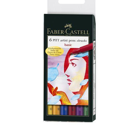 Είδη Σχεδίου - Μαρκαδόροι - Brush - Calligraphy  - FABER-CASTELL 167103 6 PITT ARTIST PEN BRUSH BASIC SET