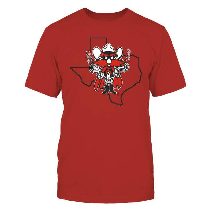 """RAIDER RED IN STATE OUTLINE - TEXAS TECH RED RAIDERS T-Shirt, TEXAS TECH RED RAIDERS OFFICIAL APPAREL Limited Edition - Not Sold In Stores Check your size by clicking on** """"Buy It Now""""**. 100% Designed & Printed in the USA!  The Texas Tech Red Raiders Collection, OFFICIAL MERCHANDISE  Available Products:          Gildan Unisex T-Shirt - $24.95 Gildan Women's T-Shirt - $26.95 District Women's Premium T-Shirt - $29.95 Gildan Unisex Pullover Hoodie - $44.95 Next Level Women's Premium Racerback…"""