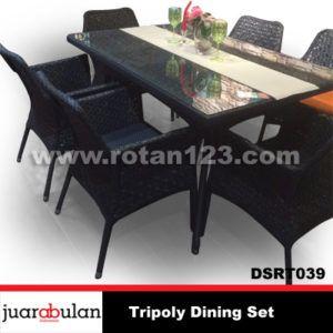 Tripoly Dining Set Meja Makan Rotan Sintetis DSRT039