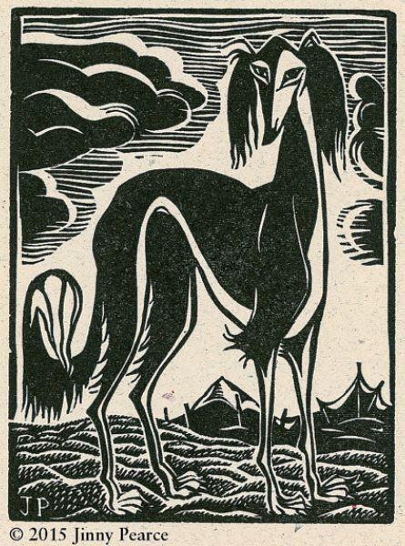 """Desert Saluki"" - A Letterpress Lino Block Print by artist Jinny Pearce, as seen on Etsy.com."