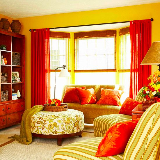 Bright yellow and red room studio apartment pinterest for Red and yellow living room ideas