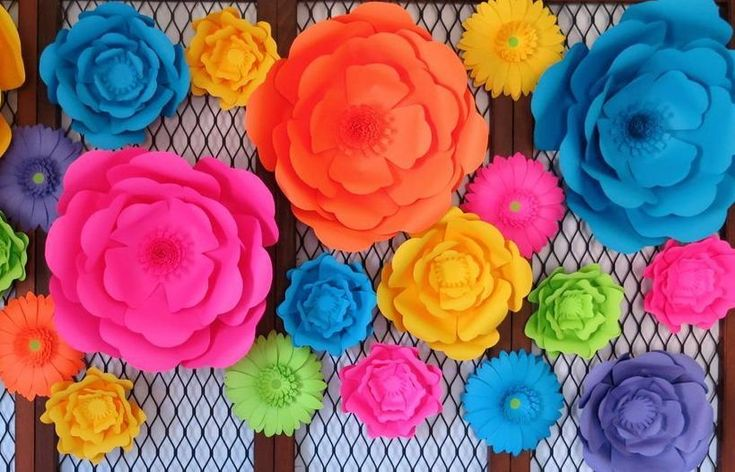"""Neon Roses, Giant Paper Flowers, Wedding Background, Flower Wall Set of 18 , Large 80's Party Decorations, Photo Backdrop, Roller Skate Party, Birthday Skating Event 6-18"""""""