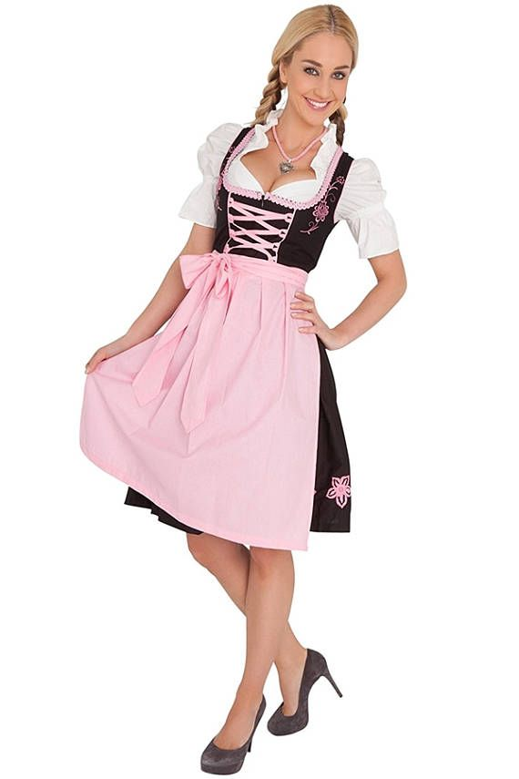 BLACK DIRNDL - OKTOBERFEST LADIES DRESS - LANDHAUSMODE (Free Expedited Shipping)  Handling Time: 10 Days Shipping Transit Time: 3 To 4 Days  Features: Length: ~100 cm Blouse: White / 100% Cotton / White Fastening Ribbon Top: Black / 100% Cotton Skirt: Black / 100% Cotton Embroidery: Yellow / Pink Braiding: Yellow / Pink Ribbon: Yellow / Pink Shoulder Hole Piping: Yellow / Pink Apron: Yellow or Pink / 100% Cotton  Origin: A dirndl is a traditional f...