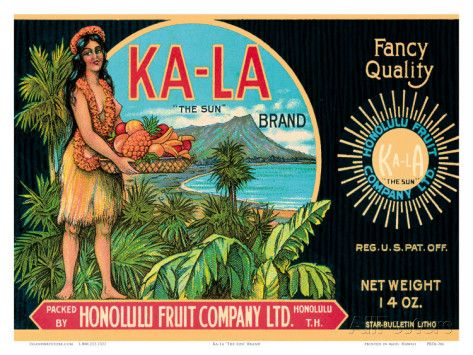 Ka-La The Sun Brand, Pineapple Label, Honolulu Fruit Company, c.1940 Posters at AllPosters.com