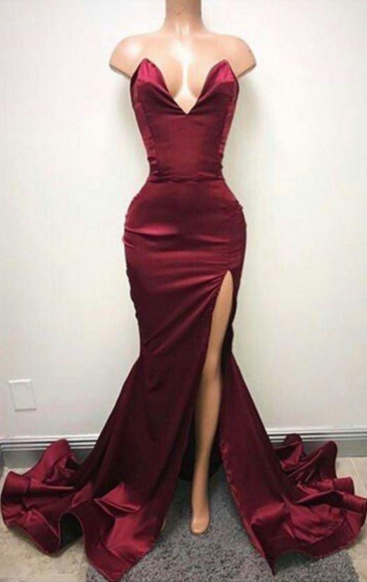 Sweep Train Sleeveless Evening Dress Burgundy Front Split Sexy Sweetheart Prom Dress