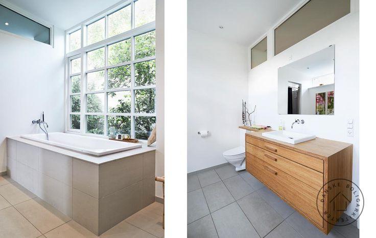 Badekar med udsigt. At bygge sit eget hus er en enestående mulighed for at få præcis den bolig man drømmer om - som her, hvor familien ønskede sig et badekar med kig til den grønne og ugenerte have. Huset er tegnet af Rasmus Skaarup fra Danske BoligArkitekter.