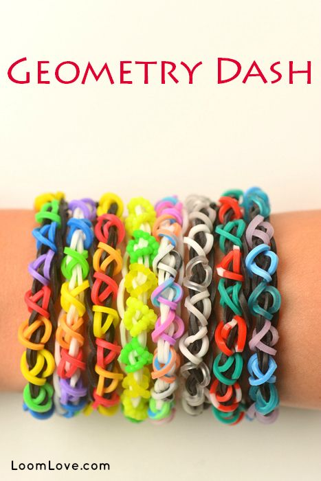 Geometry Dash-this is an easy level bracelet. THe Geometry Dash bracelet is a really cute and fun design to make on your rainbow loom. For this design, I used black, pink, and yellow. The tutorial was made by Emily from Loom Love.