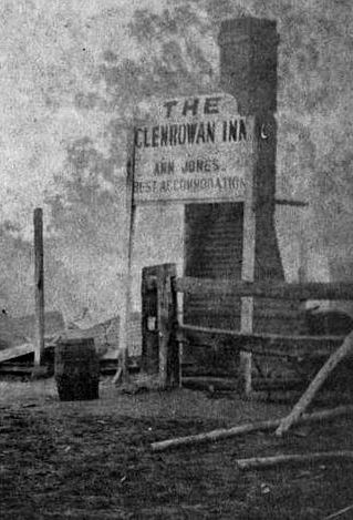1880: The burnt remains of the hotel in Glenrowan, shortly after the Kelly Gang's last stand.
