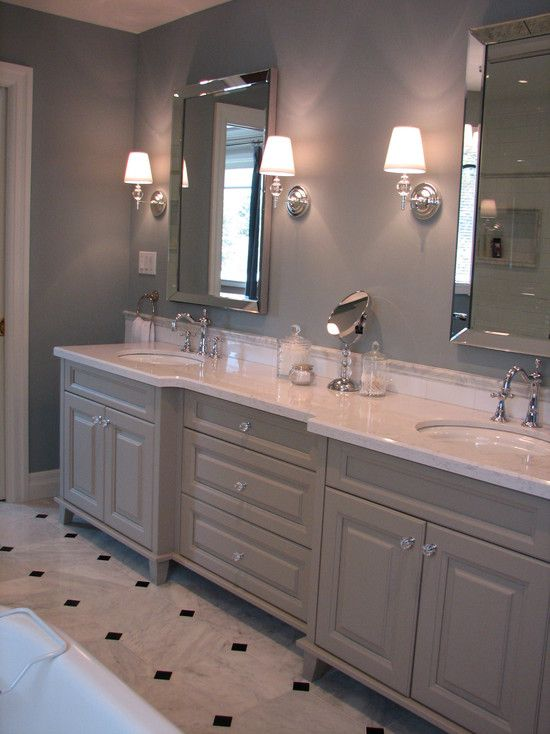 Crystal knobs on the gray cabinets bathroom pinterest for Grey bathroom cupboard