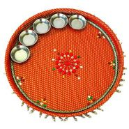 Traditional Brocade Appeal Pooja Thali For Diwali