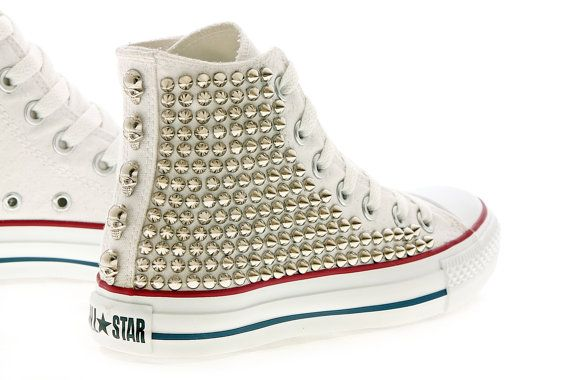 Studded Converse High Top One Side Studded by by customduo on Etsy, $159.00