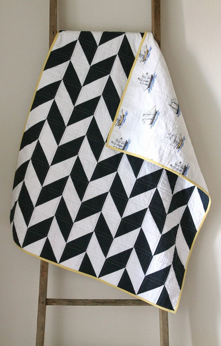 navy and white nautical herringbone quilt.