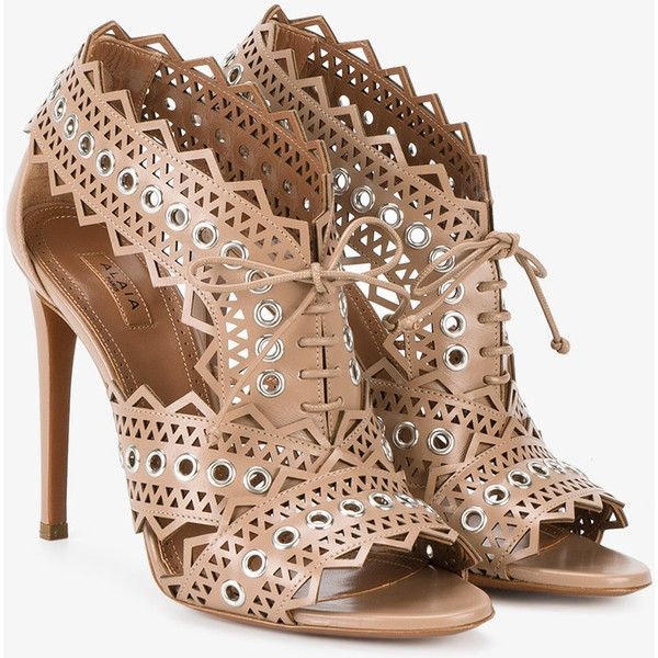 Alaïa eyelet lace up sandals ($825) ❤ liked on Polyvore featuring shoes, sandals, laced sandals, alaia sandals, open toe stilettos, open toe sandals and high heel stilettos