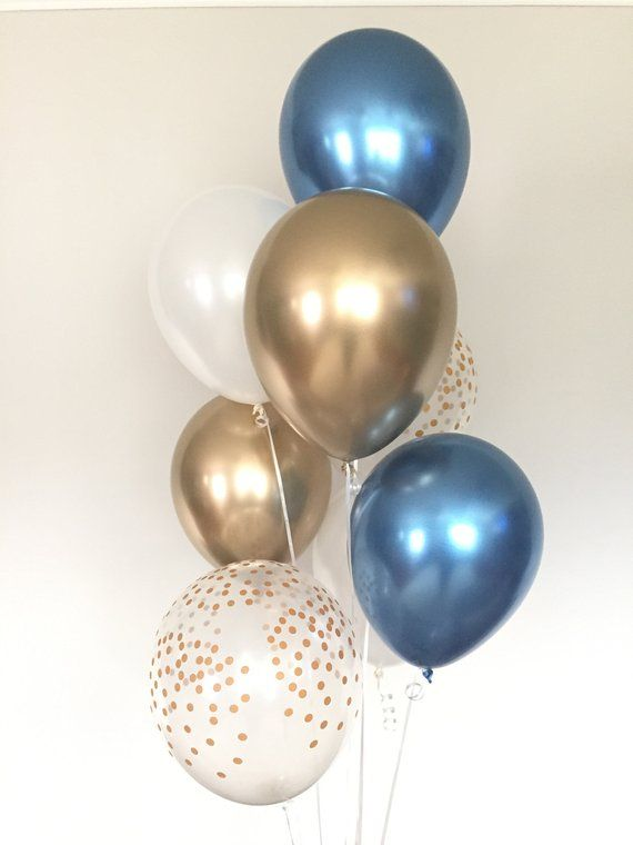 Chrome Blue Balloons Navy And Gold Balloons Navy And