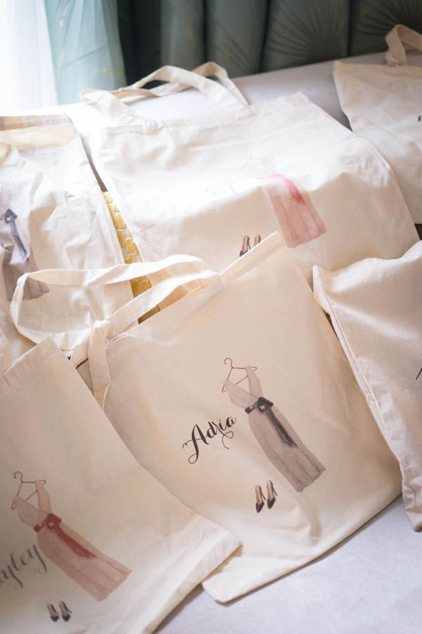 Bridesmaid gift ideas: custom tote bags (Miki and Sonja Photography)