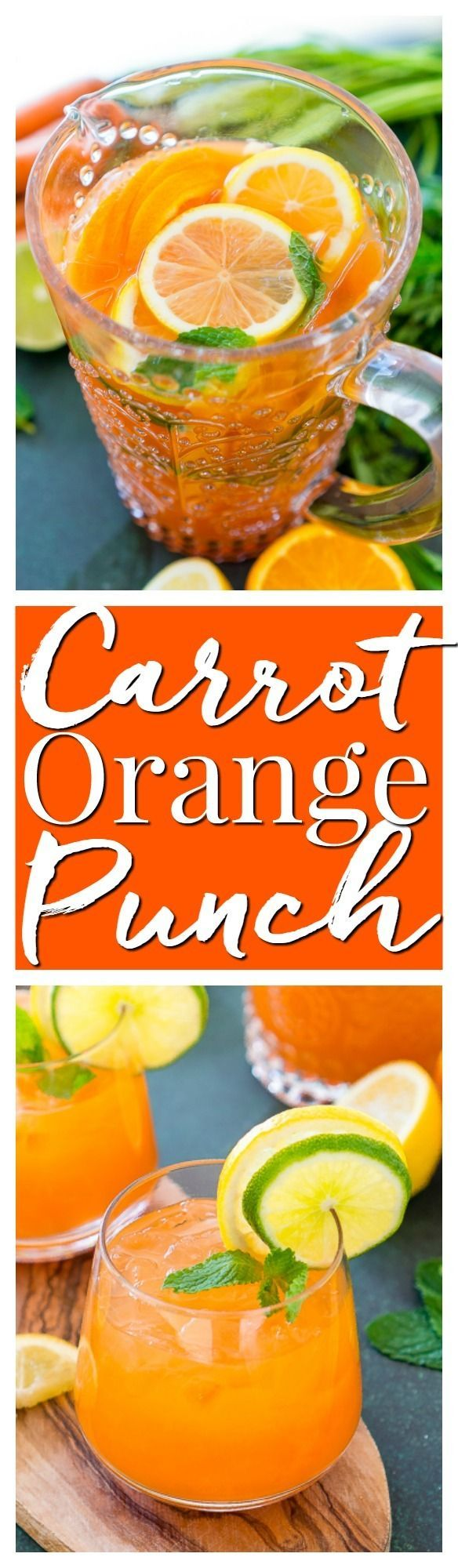 This Carrot Orange Punch is the perfect drink for spring, an easy mix of juice, soda, and fruit slices. It only takes 5 minutes to make and you can add alcohol if you want for a boozy punch! via @sugarandsoulco
