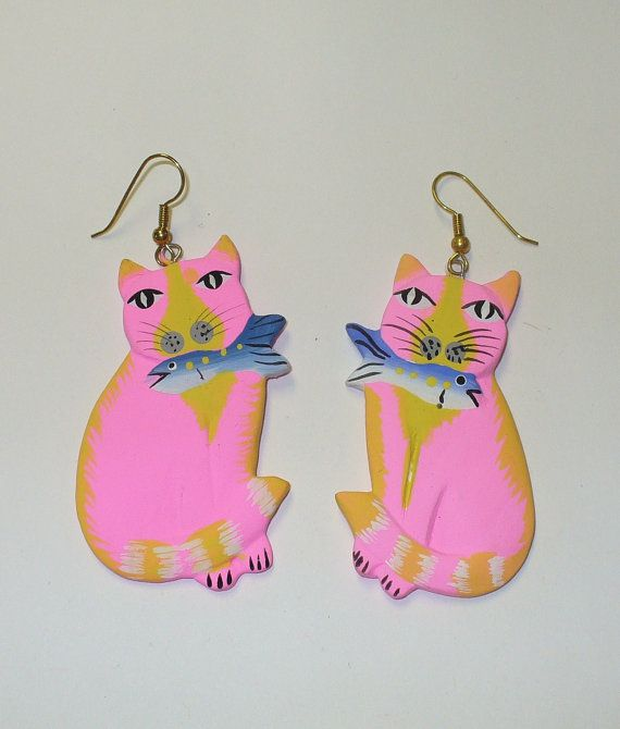 Vintage Pink Kitty with Fish Earrings DEADSTOCK by SHOPHULLABALOO, $8.99