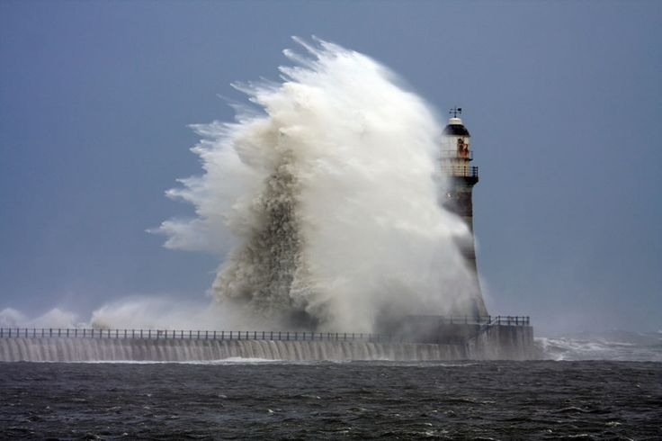 Stormy weather and rough seas at Roker Lighthouse.