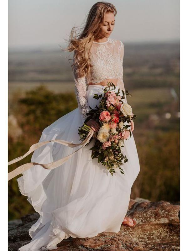 Two Piece Beach Wedding Dresses Long Sleeve Lace Top Wedding