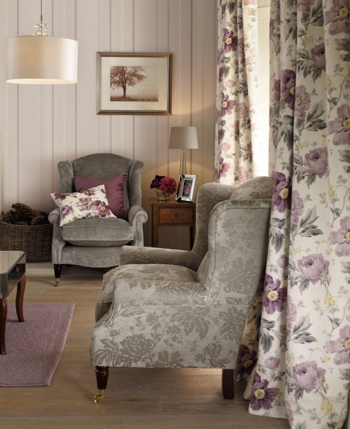 Peony Amethyst Collection  Such a beautiful Collection, the amethyst Colour has transformed my sitting room. I purchased the curtains and cushions. Also the rug. #lauraAshleySS14
