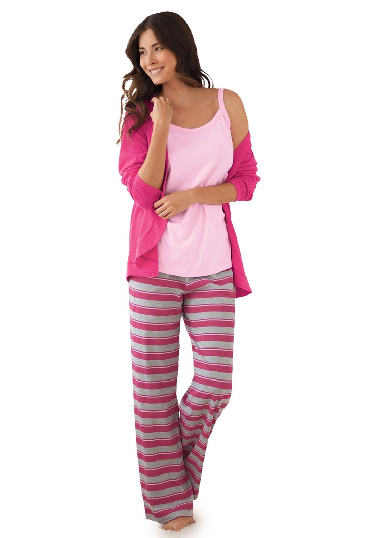 Plus Size 3-pc. cotton knit pajamas by Dreams & Co.® | Plus Size pajamas -sets | Woman Within