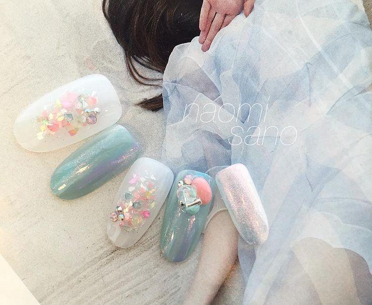 new sample #nail#nailart#nailartist#love#art#gelnail#gelart#ネイル#ネイルアート#ジェルネイル#夏ネイル#スワロフスキー#swarovski#美甲#シェルネイル#hawaii#fashion#네일#네일아트#光療#光療美甲#rapigel#ラピジェル#followme#nailpics#instagood#nailprodigy#japan#instanails#sea