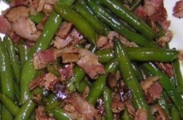 Restované fazolky s anglickou slaninou