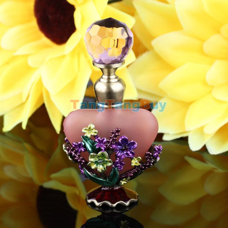 Pink Vintage Crystal Heart Shape Metal Empty Perfume Bottle Wedding Decor Gift #Unbranded