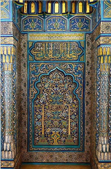Mihrab of the Yeşil Türbe (Green Tomb) - a mausoleum of the fifth Ottoman Sultan, Mehmed I, in Bursa, Turkey. It was built by Mehmed's son and successor Murad II following the death of the sovereign in 1421. The architect, Hacı Ivaz Pasha designed the tomb and the Yeşil Mosque opposite to it.