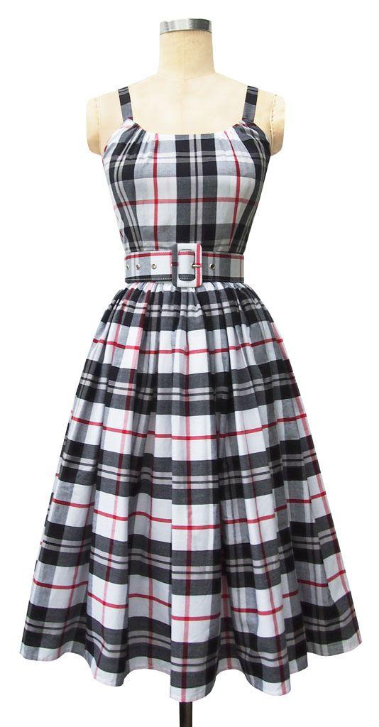 Trashy Diva Annette Dress | 1950s Inspired Dress | Black Plaid | Trashy Diva