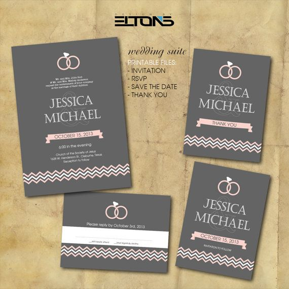 Invitation Packages Wedding: Gray And Pink Wedding Invitation Package / Wedding By