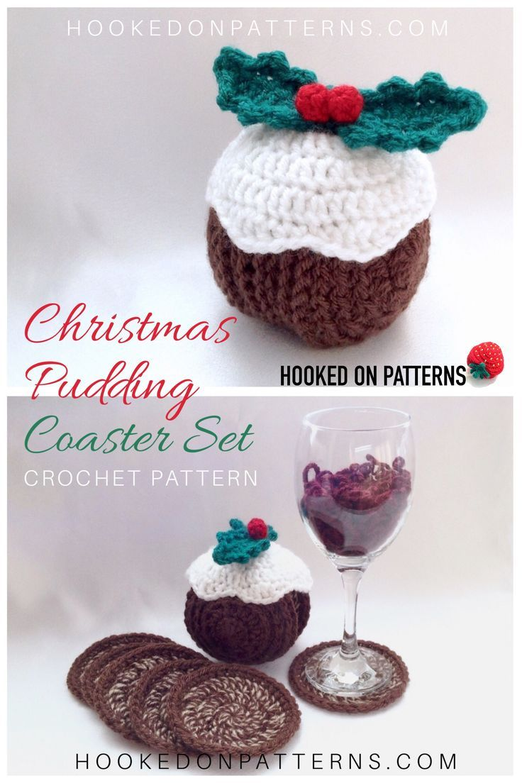 Christmas Pudding Crochet Pattern - Coasters | Online Sellers and ...