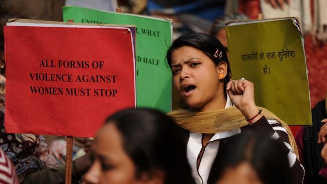 India 5-year-old dies after rape: Indian activists shout slogans during a protest against the gang rape and murder of a student in New Delhi in January.  (AFP)