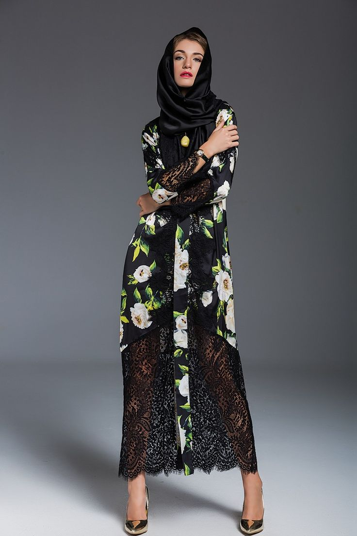 Luxury 2016 Autumn printing dress fashion vintage lace patchwork split long dress Muslim dress Arabian style dress