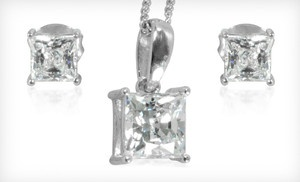 Princess-Cut Earrings, Pendant, or Both Made with Swarovski Elements (Up to 88% Off). Free Shipping.