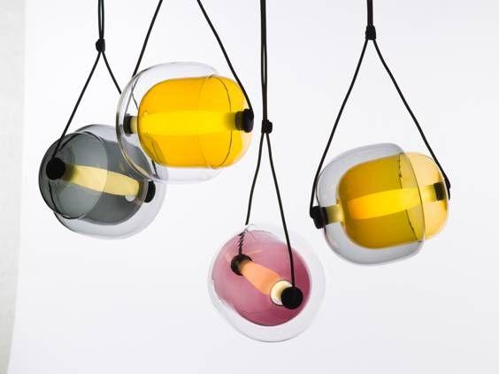White Interior - Brokis lights - Smoke grey, amber, violet, dark smoke grey, yellow, transparent glass and opaline Capsula. Design by Lucie Koldova