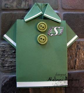 Saskatchewan Roughrider Origami Shirt Card