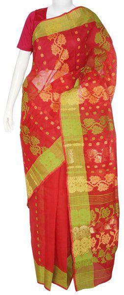 Red & Parrot Green Jamdani Saree