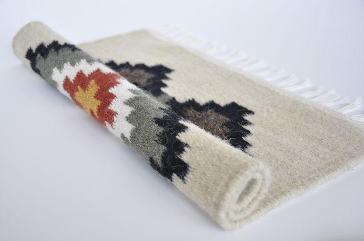 Handmade wool area rug with rhombuses - genuine traditional Romanian folk art at www.Valdinia.com